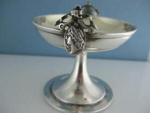 Early Coin Silver Gorham Master Salt Cellar Dish Medallion C1860s No Mono