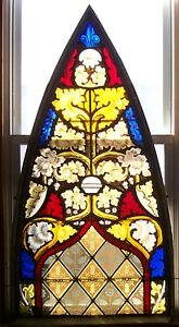 Antique 1800 S Arch Leaded Stained Glass Church Window 52 X 27 Gothic Art Vgc