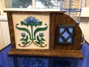 Arts Crafts Tile W Handcrafted Mission Oak Tabletop Frame W Stained Glass