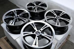 15 Wheels Acura Cl Integra Legend Civic Fit Spectra Miata Black Rims 4x100 Set4