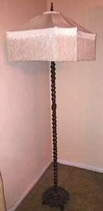 Cast Bronze Floor Lamp Barley Twist Fringe Shade Electric Fully Restored