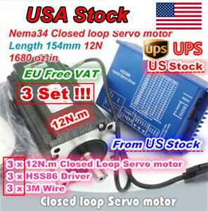 Us 3set 12n m Hybrid Stepper Servo Motor Closed Loop Hss86 Driver Nema34 Cnc Kit