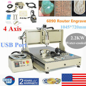 4axis Usb 6090 2200w Spindle Router Engraver Milling Drilling Machine Metal Ups