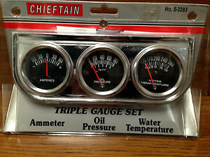 Triple Gauge Set Retro Style Black Face Oil Temp Amp Ratrod Rat Rod Vintage New