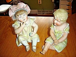Atq Pr Piano Babies Blond Curl Hair Boy Girl W Ball Bonnet Bisque Figurines