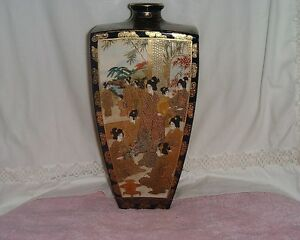Large Antique Japanese Satsuma Vase Cobalt Blue Marks In Very Good Condition
