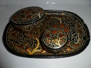 Antique Hand Made Hand Painted Islamic Middle Eastern Paper Mache Tray W Boxes