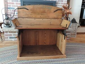 Antique Horse Sleigh Buckboard Carriage Bench Seat With Storage Area