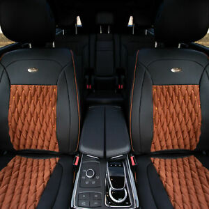 Luxurious Leather Cushion Pad Front Bucket Seat Covers Auto Car Suv Van Brown