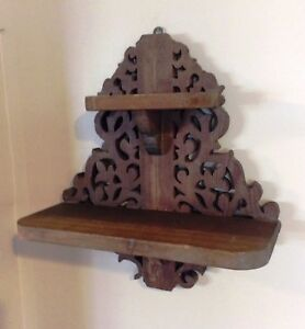 Vintage Wooden Wall Hanging Two Tiered Shelf Scroll Work Chunky Great Patina