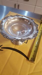 Vintage Fisher Sterling Silver Compote English Rose Pattern 2438 Pedestal Bowl