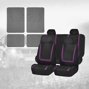 Black Purple Car Seat Covers Combo With Gray Floor Mats For Auto Car Suv
