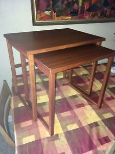 Vintage Mid Century Danish Teak Nesting Stacking Tables By Brdr Furbo