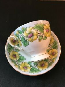 Antique Tuscan Tea Cup And Saucer Yellow Floral Bone China England
