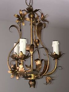 Vintage Italian 50 60 S Gilt Tole Chandelier With Leaves And Flowers
