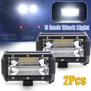 2x 5inch 96w Cree Led Work Light Bar Offroad 30v Flood Driving Lamp Jeep Ford Us