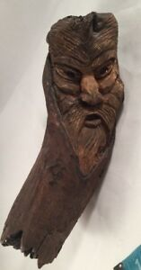 Drift Wood Tree Carved Figurine Sculpture Wooden Wizard Old Man Face Tree 8