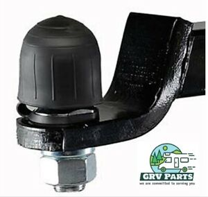Trailer Hitch Ball Cover For Use With 2 Inch Ball Black Rubber With Tether