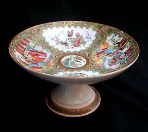 19th C Chinese Export Compote Rose Medallion Rare Form Finely Painted As Is