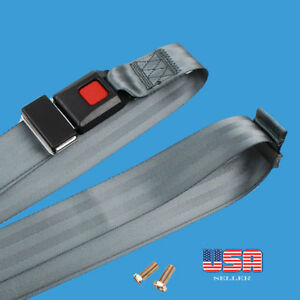 1 Car Seat Belt Lap 2 Point Safety Gray Adjustable Retractable Auto Universal