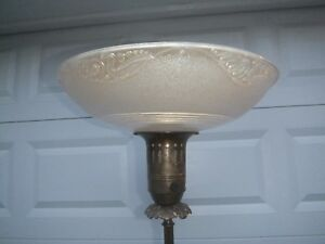 Torchiere Floor Lamp Beautiful Glass Shade 62 Tall Shade 16 Diameter