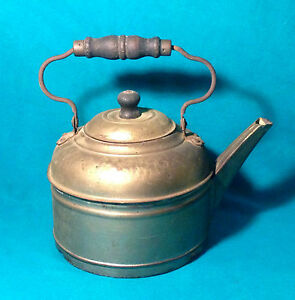 Antique Kettle Copper Bottom Early 1900 Rochester Ny Tea Coffee Pot Flower Decor