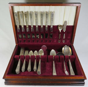 Wm Rogers Silver Plate Extra Plate Chalfonte 56pc Flatware Set Service For 8