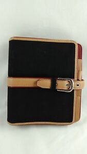 Franklin Covey Planner Black Red Canvas Leather Binder 6 Ring Snap Close 1 25