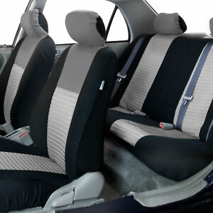 Luxury Sport Car Seat Cover Set Front Rear Gray For Car Truck Suv