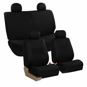Black Car Seat Covers Full Set For Auto W 4 Headrests Rubber Floor Mat