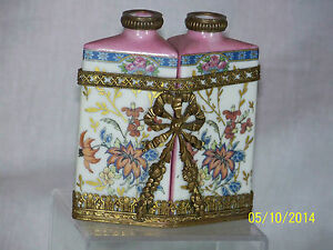 Antique French Hand Painted Porcelain Set Of Perfume Bottles W Brass Ornate Case
