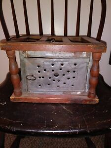 Antique Primitive 1800s Hand Punched Tin Wood Foot Warmer Carriage Coal Tray