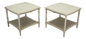 Pair Of Mid Century 2 Tiered Side Tables Pair Of Vintage Cane Tables