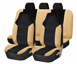 Leather Velour Car Seat Covers Beige Sport Luxury Top Quality