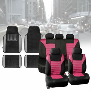 Car Seat Covers Pink For Auto Car Suv With Gray Carpet Floor Mats