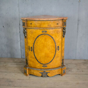 Antique French Inlaid Marble Top Corner Cabinet Vintage