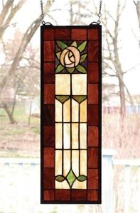 Victorian Trading Co 2 Art Deco Rose Stained Glass Windows Hanging 18d