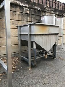 200 Gallon Stainless Steel Hopper Cone Tank Has Drains Food Grade