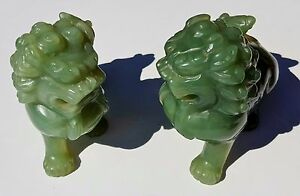 Hand Carved Pair Vintage Foo Dog Lion Shishi Guardian Jade Statues Qing Dynasty