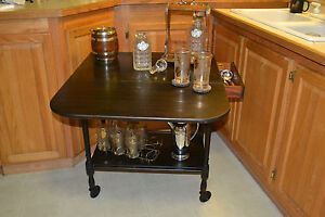 Vtg Grand Rapids Co 1920s Wood Drop Leaf Tea Bar Liquor Trolley Cart Table Cart