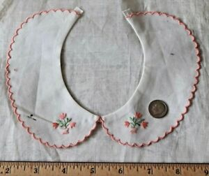 Vintage Swiss C1920 Cotton Hand Loomed Embroidered Collar Girls