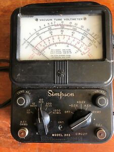 Vintage Simpson Model 303 Vacuum Tube Voltmeter Vtvm Made In Usa