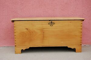 Diminutive 19th Century American Pine Chippendale Blanket Chest C 1850