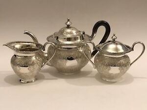 Stunning Antique Persian Islamic Indian Kashmir Solid Silver Tea Set 1237g