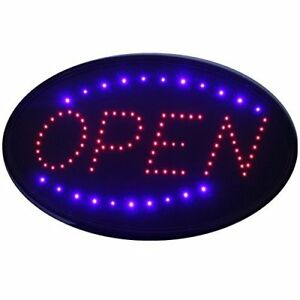 delux Ultra Bright Jumbo Size Flash Motion 24 x 13 Led Neon Open Sign Light