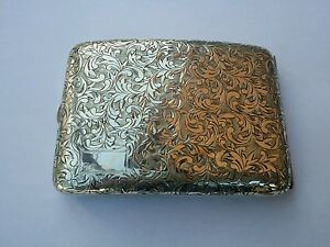 Japanese 950 Sterling Silver Hand Chased Cigarette Case Mint Condition