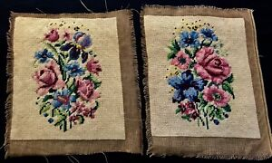 Two Gorgeous Antique Needlepoint Embroidery Panels Floral Design 10 1 4 X 8 1 2
