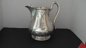 H B Stanwood Pure Coin Silver Awesome Water Pitcher Rare