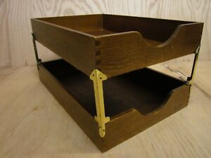 Lot 2 Vintage Wood Desk Organizer Legal Tray Dovetail Wood Office In Out Box 20