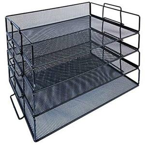 4 tier Stackable Tray Paper Organizers Wire Mesh Desk File For Office black
